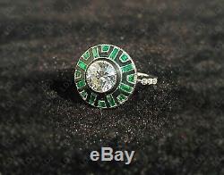 1.8 Ct Round Cut Enamel Vintage Art Deco Engagement Ring 925 Sterling Silver