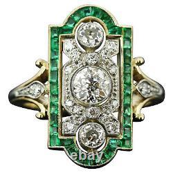 1.80CT White Round Diamond Vintage Art Deco Antique Ring 14K Yellow Gold Finish