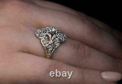 1 Ct Round Cut Moissanite Vintage Art Deco Engagement Ring 14K White Gold Finish