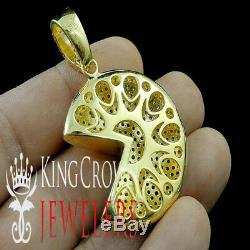 10k Yellow Gold On Real Silver Pac-Man Charm Game Diamond Vintage Custom Pendant
