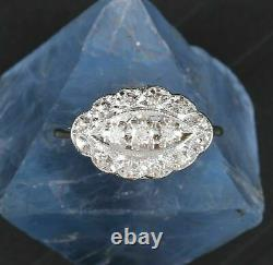 14K White Gold Over Engagement Antique Vintage Retro Ring 2.66 Ct Round Diamond