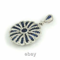 14K White Gold Over Vintage Art Deco Engagement Cluster Pendant 1.86 Ct Sapphire