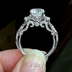 14k White Gold Finish Round Cut 1.50 Ct Diamond Vintage Style Engagement Ring