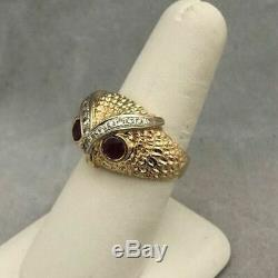 14k Yellow Gold Over Vintage Estate Owl Head Ruby Diamond Mens Pinky Ring