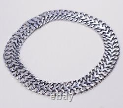16, 20mm, Vtg Sterling silver handmade necklace, 925 Double Curb Link Chain