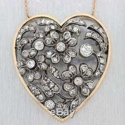1880s Antique Victorian Diamond Heart Necklace 14K Rose Gold Sterling Silver D8