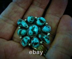 1950s Vintage Old Pawn NAVAJO 925 Sterling Silver BLUE TURQUOISE Flower RING 8