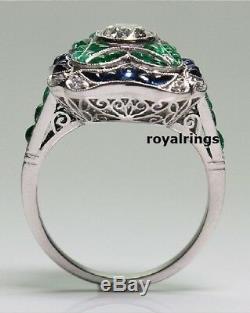 2.00 ct Cushion Cut White Diamond & Vintage Art Deco Engagement Ring 925 Silver