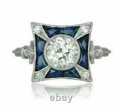 2.00Ct Round Cut Diamond & Blue Engagement Art Deco Ring 14K White Gold Over