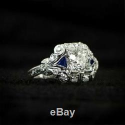 2.15 Ct Round Cut D/VVS1 Diamond Antique Vintage Sapphire Engagement Ring 5-12