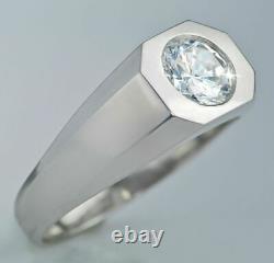 2.35 Ct 14k White Gold Over Round Diamond Men's Deco Style Ring Top Vintage