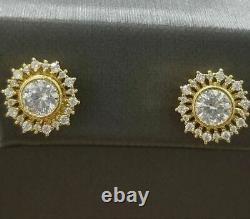 2.50 Ct Round White Diamond Vintage Flower Stud Earrings 14K Yellow Gold Finish