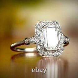 2.85Ct Diamond Vintage Retro Engagement Wedding Halo Ring 14K White Gold Over