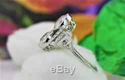 2 Ct Art Deco Antique Two Round Cut Vintage Engagement Ring 925 Sterling Silver