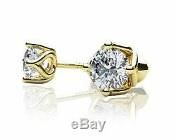 2 Ct Round-Cut Diamond Vintage Solitaire Stud Earrings In 14K Yellow Gold Finish