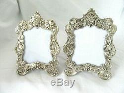 2 Vintage Ornate Gorham Sterling Silver Picture Frame Repousse Pr Floral Easel