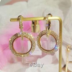 20Ct Round Cut Diamond Vintage Hoop Earrings 14K Rose Gold Finish