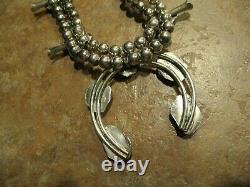 22 EXTRA FINE Vintage Navajo Sterling Silver CORAL Squash Blossom Necklace