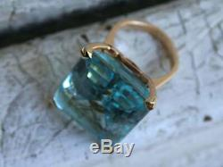 22Ct Emerald Cut Aquamarine Vintage Engagement Ring 14k Rose Gold Finish
