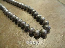 24 MARVELOUS Vintage Navajo Sterling Silver PEARLS Bead Necklace on Foxtail