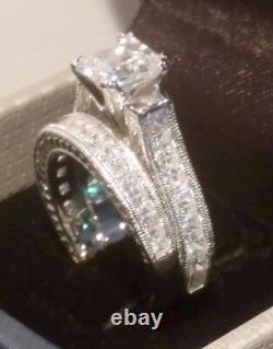 3.00 Ct Princess Diamond Engagement ring set Antique White Gold Platinum Finish