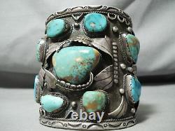 300 Grams Big Best Vintage Men's Navajo Turquoise Sterling Silver Bracelet