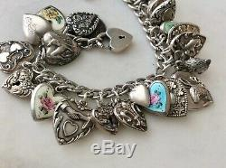 31 Vintage Sterling Silver Puffy Hearts Charms Bracelet Enamel Bunny W Lampl