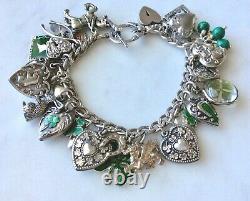 33 Vintage Sterling Silver Enamel Shamrocks Puffy Heart Charms Bracelet W Lampl