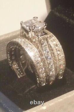 4.00 Ct Princess Diamond Engagement ring set Antique White Gold Platinum Finish