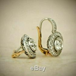 4.0Ctw Diamond 14K White Gold Over Art Deco Antique Vintage Halo Earrings
