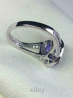 4 CT Tanzanite & Diamond Halo Style Vintage Engagement Ring 14K White Gold Over
