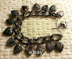 40's Vintage Sterling Silver Puffy Heart Charm Bracelet & Repousse, Gems, Lampl