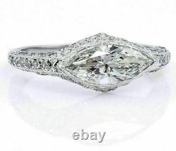4Ct Marquise Cut Diamond Vintage Art Deco Engagement Ring 14k White Gold Over