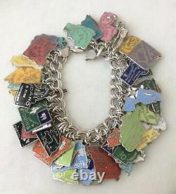56 Vintage Sterling & Silver Cloisonné Enamel US State Maps Charm Bracelet