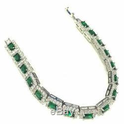 6.50 CT Vintage Green Emerald Diamond Tennis Bracelet 7.25 14K White Gold Over