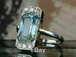 6 Ct Art Deco Aquamarine Antique Vintage Engagement Ring 14K White Gold Over