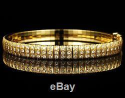 6 Ct VINTAGE ROUND-Cut DIAMOND 14K YELLOW GOLD OVER THREE ROW TENNIS BRACELET 8