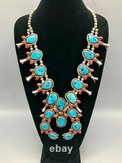 A Bold, Vintage Turquoise and Coral Squash Blossom Necklace