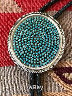 A+ Vintage Petit Point NAVAJO Zuni TURQUOISE Sterling Silver Bolo Tie Necklace