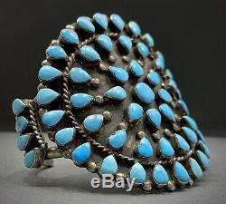 AMAZING HUGE Vintage 40s ZUNI Sterling Silver Turquoise Cluster Cuff Bracelet