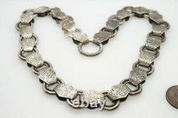 ANTIQUE VICTORIAN ENGLISH SILVER ENGRAVED BOOK CHAIN COLLAR NECKLACE c1880