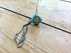 ATC Nadine Sterling Enamel Guilloche Ball Pendant Swiss Watch Chain Tiffany blue