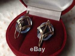 Amazing Vintage Antique Soviet USSR Earrings Big Stone Gilt Sterling Silver 875