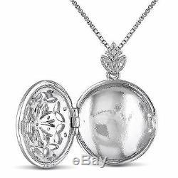 Amour Sterling Silver Vintage Diamond Locket Pendant Necklace H-I I2-I3 18
