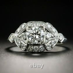 Antique 1.15Ct Round Diamond Vintage Art Deco Engagement Ring Solid 925 Silver