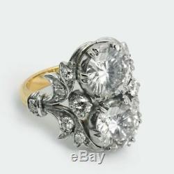Antique 5.20. Ct Diamond White Round Cut Art Deco Vintage Wedding Ring 925 Silver