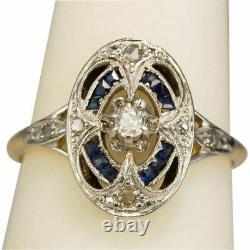 Antique Art Deco Blue Sapphire White Diamond Jewelry Vintage Ring 925 Silver YU3