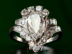 Antique Art Deco Engagement Ring Vintage 2.9 Ct Pear Diamond 14k White Gold Over