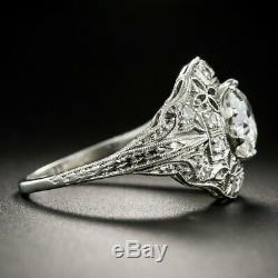 Antique Art Deco Vintage Engagement Ring 2 Ct Round Diamond 14K White Gold Over