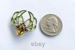 Antique Art Nouveau Sterling Plique-a-jour Pin With Stone